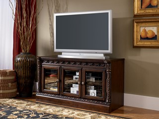North Shore Traditional Dark Brown Wood Glass Narrow TV Stand