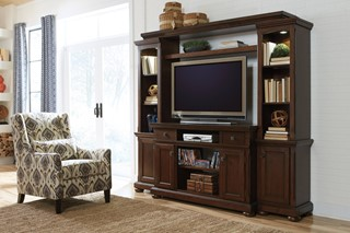 Porter Traditional Rustic Brown Wood Entertainment Center