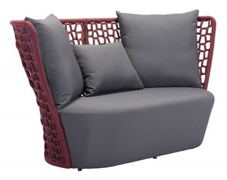 Faye Bay Beach Vive Cranberry Gray Acrylic Fiber Fabric Sofa