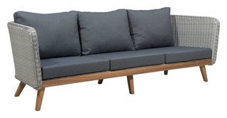 Grace Bay Vive Natural Gray Synthetic Weave Wood Sofa