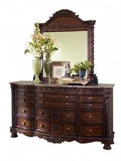 North Shore Traditional Dark Brown Wood Glass Dresser And Mirror