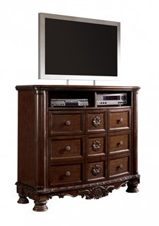 North Shore Traditional Dark Brown Wood Media Chest
