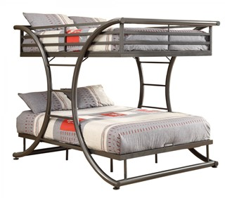 Casual Gunmetal Built In Ladder Full/Full Bunk Bed