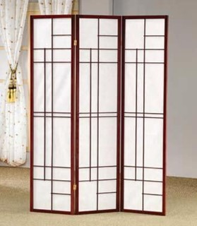 Brown Red Wood Folding Screen / Room Divider
