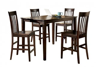 Hyland Contemporary Red Brown Wood 5pc Dining Room Counter Table Set