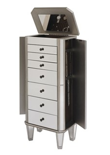 Modern Silver MDF Rubberwood Mirrored Jewelry Armoire