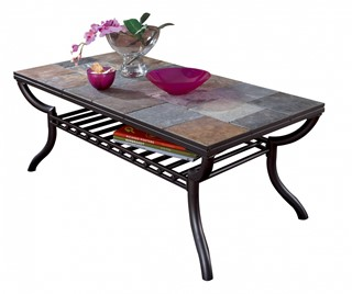Antigo Contemporary Black Metal Tiles Rectangular Cocktail Table