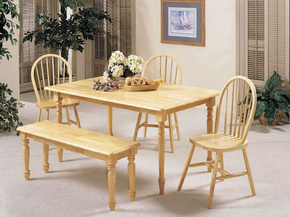 Farmhouse Casual Natural Wood 6pc Dining Room Set ACM-02247NS