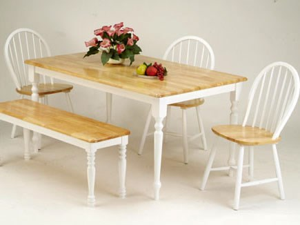Farmhouse Casual Natural White Wood 6pc Dining Room Set ACM-02247NWS