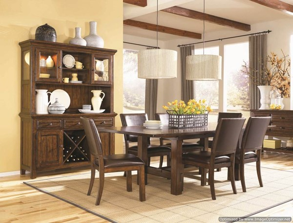 West Side 9 PC Dining Room Set w/ Leather Side Chairs 560-S1 560-S1