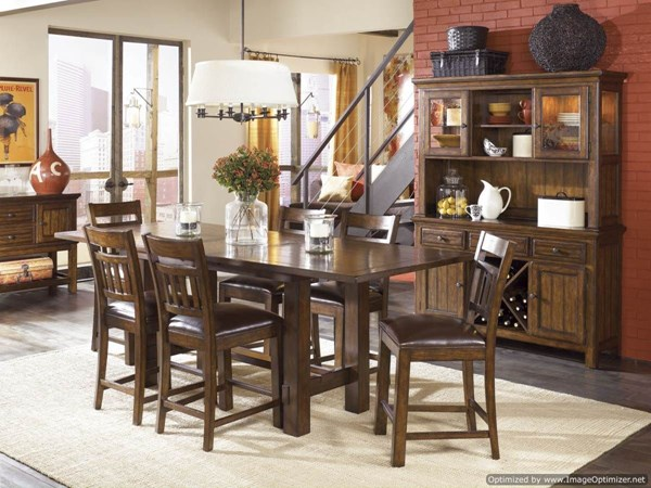 West Side 9 PC Bar Set w/ Slat Back Pub Chairs 560-S3 560-S3