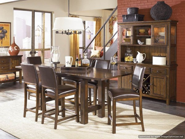 West Side 9 PC Bar Set w/ Leather Pub Chairs 560-S4 By Legacy Classic 560-S4