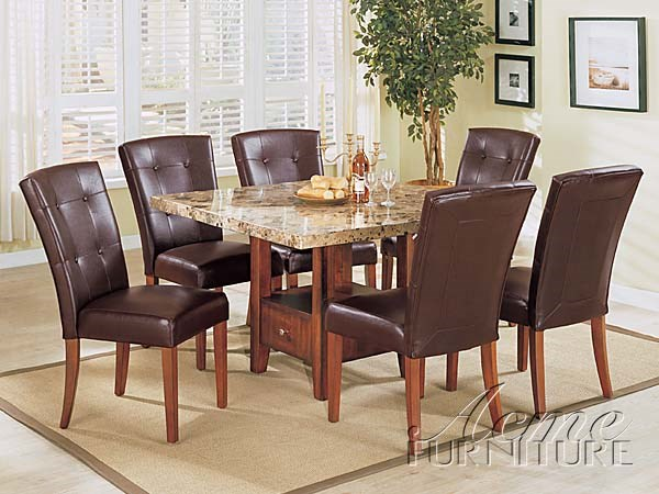 Bologna Brown Marble Stone PU Leather Wood 7pc Dining Table Set ACM-07050S