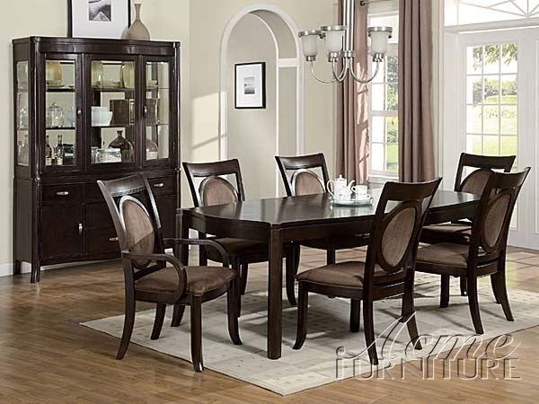 Vienna dark cherry wood dining table set the classy home for Dining table set deals