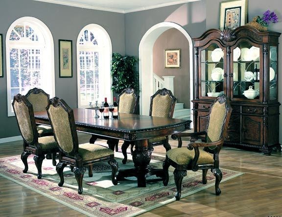Saint Charles Traditional Deep Brown Wood Fabric Glass Dining Room Set CST-G100131