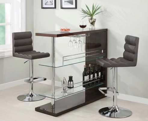 Contemporary Brown Cappuccino 3pc Bar Set CST-100166-SET