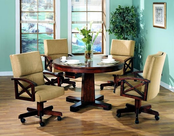 Casual Oak Wood Round Dining Room & Game Set CST-G100171