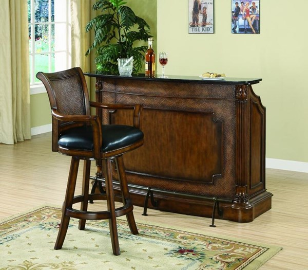 Traditional Brown Wood Leather Upholstered Bar Set CST-G100173