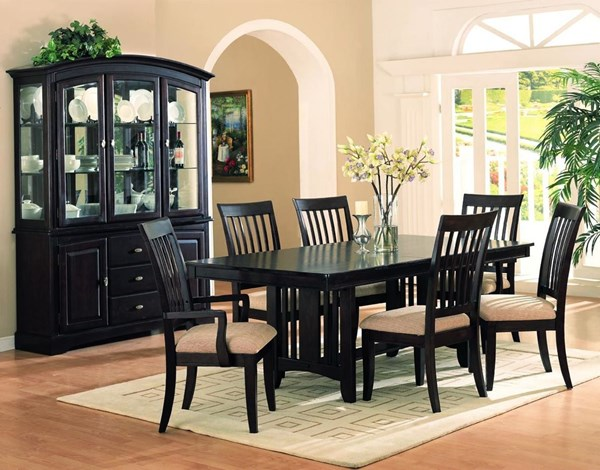 Monaco Transitional Cappuccino Wood Natural Fabric Dining Room Set CST-G100181
