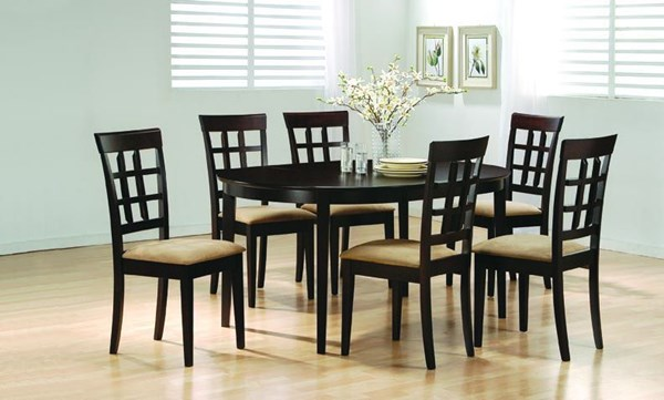 Casual Cappuccino Solid Wood 7pc Dining Room Set CST-100770SET-1