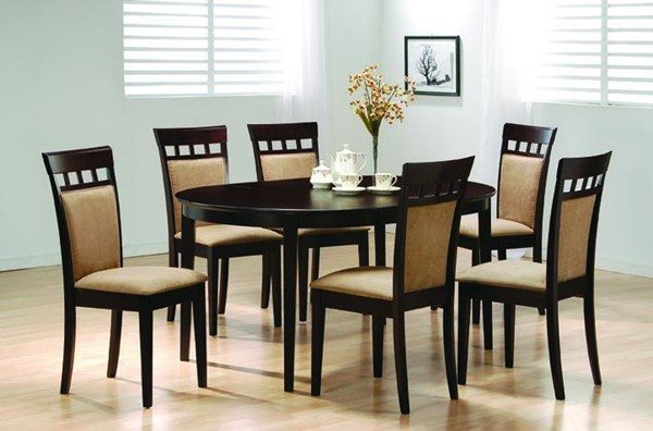 Casual Cappuccino Wood Fabric 7pc Dining Room Set CST-100770SET-2