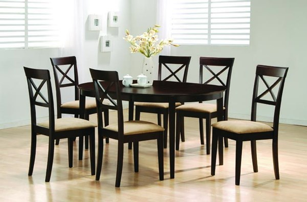 Casual Cappuccino Wood Cross Back 7pc Dining Room Set CST-100770SET-3