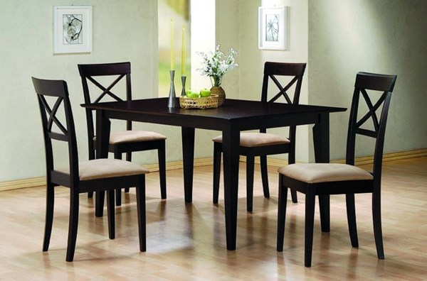 Casual Cappuccino Fabric 5pc Dining Room Set CST-100771SET-3