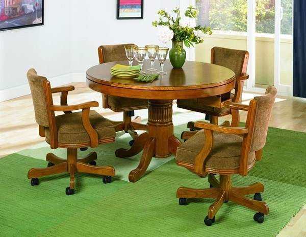 Casual Oak Wood Game Table Set W/cup Holders CST-G100951