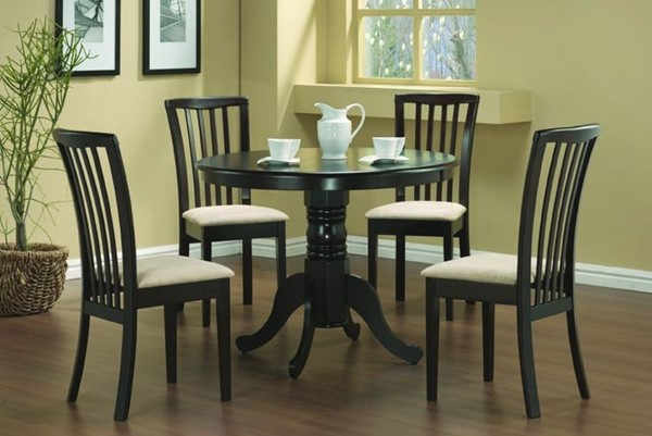 Casual Cappuccino Wood Fabric 5pc Dinette Set CST-101081SET