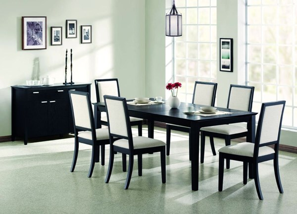 Lexton Transitional Black 8pc Dining Room Set CST-101561SET