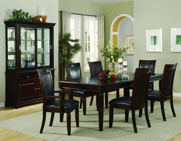 Ramona Transitional Nut Brown Wood Faux Leather 7pc Dining Room Set CST-101631SET