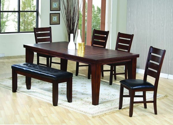Imperial Antique Brown Wood Fabric Rectangle Dining Room Set CST-G101881