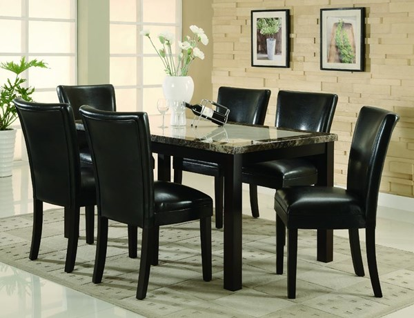Carter Casual Cappuccino Wood Faux Leather 7pc Dining Room Set CST-102260SET-1