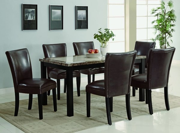 Carter Cappuccino Wood Faux Leather 7pc Dining Room Set CST-102260SET-2