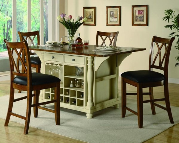 Casual Cherry Wood Cross Back Dinette Set CST-G102271