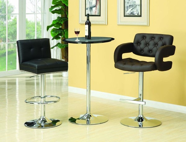 Contemporary Black Silver Metal Counter Height / Bar Set CST-G120421