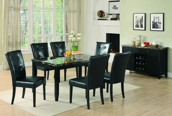 Anisa Casual Black Wood Leather Like Vinyl Faux Marble Dining Room Set CST-G102791