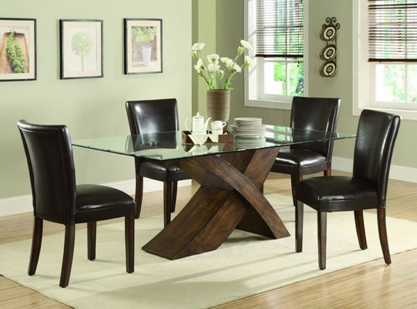 Nessa Brown Wood Leatherette 5pc Dining Room Set CST-103051SET