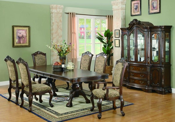 Andrea Traditional Warm Brown Wood Fabric Glass Dining Room Set CST-G103111