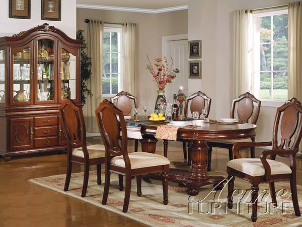 Classique Traditional Cherry Wood Fabric Dining Room Set ACM-11830 SET