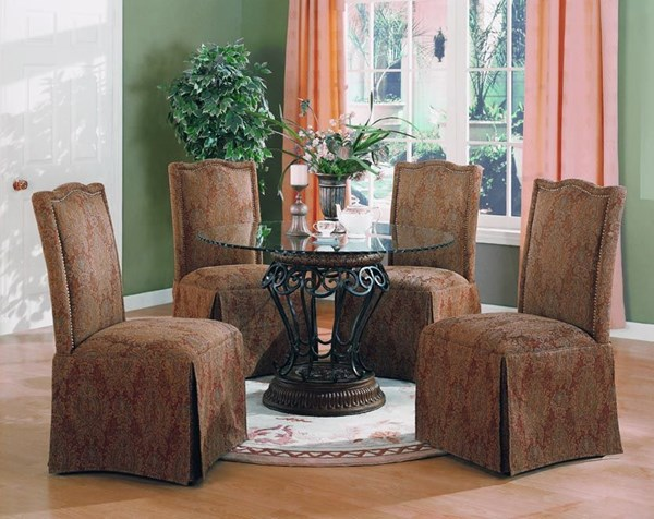 Slauson Traditional Metal Glass 5pc Dining Room Set CST-120031SET-3