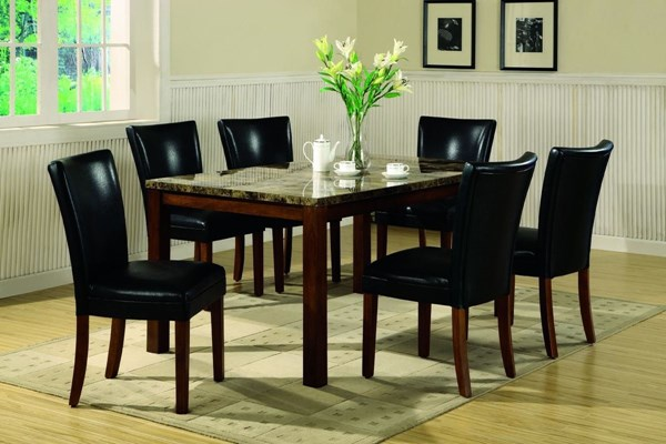 Cherry Wood Marble Like Leatherette Dining Room Set CST-G120310
