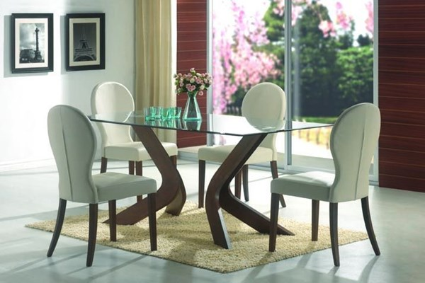 San Vicente Collection Contemporary Nut Brown 5pc Dining Room Set CST-120361SET