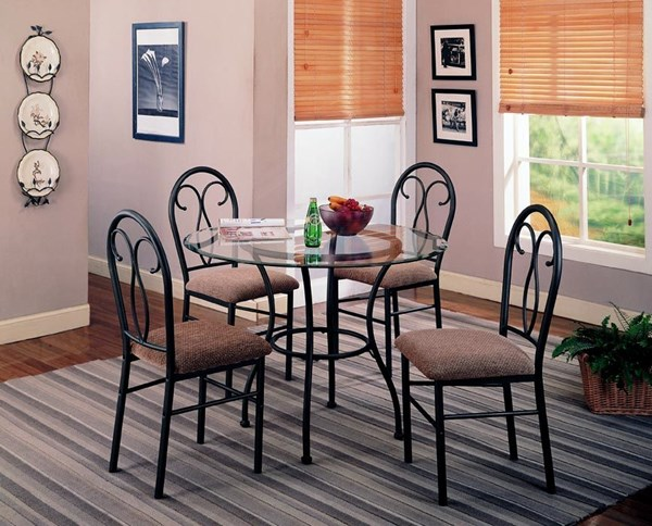 Odelia Traditional Black Metal Glass 5pc Pack Dining Set CST-120565
