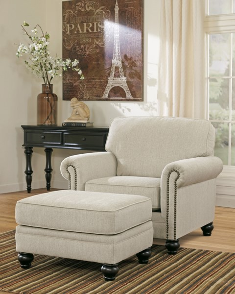 Ashley Furntiure: Ashley Furniture Milari Linen Chair And Ottoman Set