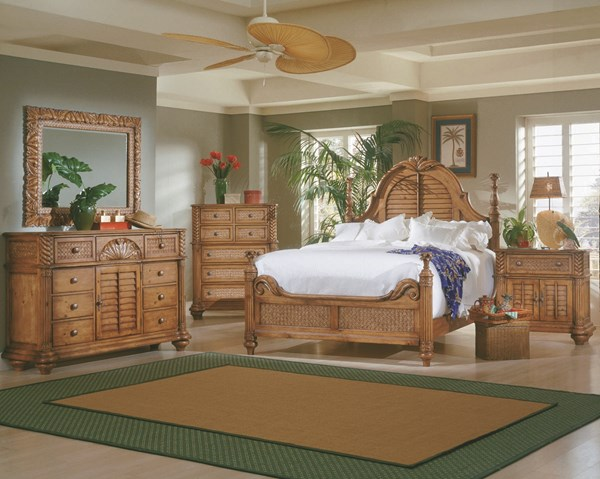 Palm Court Tropical Island Pine Wood MDF Rattan 2pc Bedroom Sets PRG-1416-LPOST-BR-S