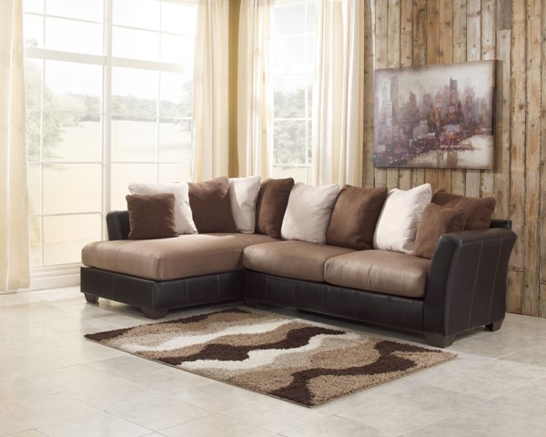 Masoli Mocha Faux Leather Fabric Sectional W/Left Side Chaise 14201-S1