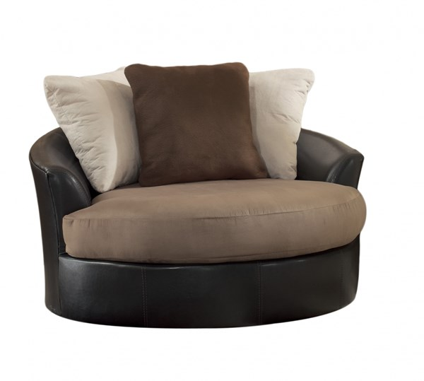 Masoli Mocha Faux Leather Fabric Oversized Swivel Accent Chairs 142-chair