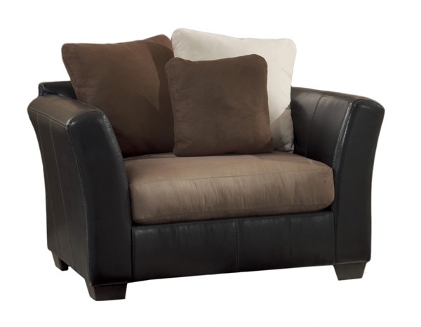 Masoli Contemporary Mocha Faux Leather Fabric Chair And A Half 1420123