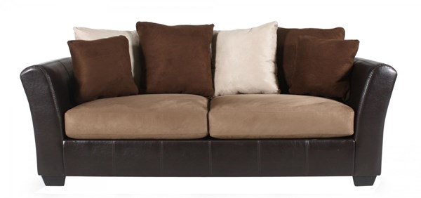 Masoli Contemporary Mocha Faux Leather Fabric Sofa 1420138